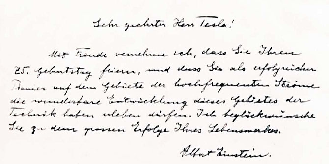 Letter from Albert Einstein to commemorate Tesla's 75th birthday, 1931