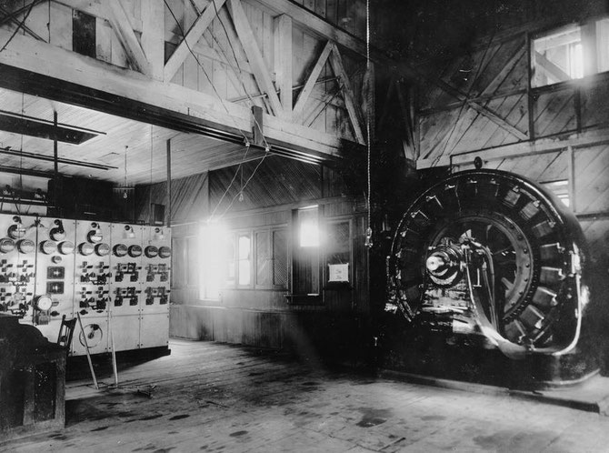 Interior of the Western Colorado Power Company's Old Ames plant' scene in 1891 .