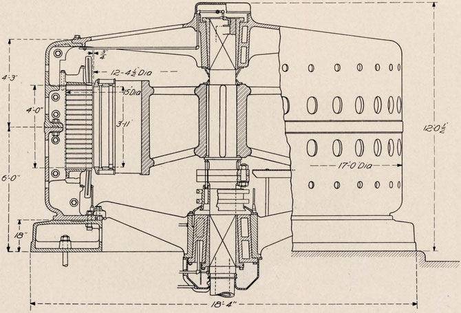Cross-Section Assembly of 10,000 H.P., 10,000 Volt Generator Building for Canadian Niagara Falls Power Co.