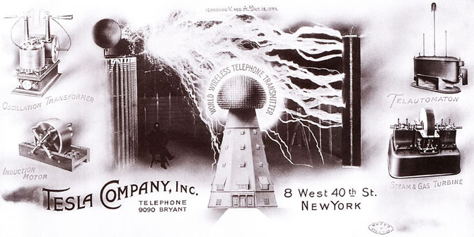"Tesla Company letterhead. Note the words ""World Wireless Telephone Transmitter."