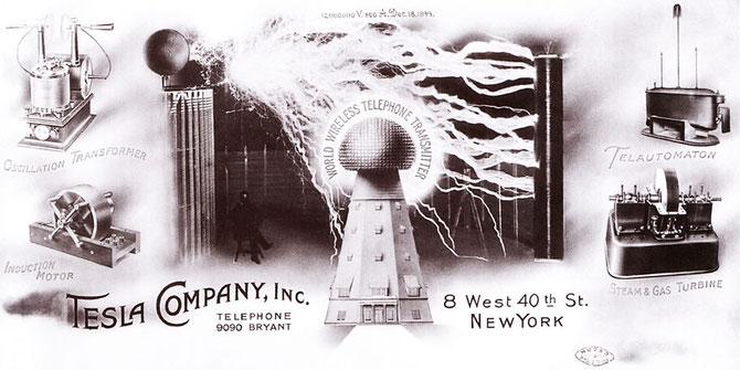 "Tesla Company letterhead. Note the words ""World Wireless Telephone Transmitter."