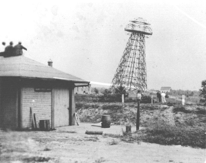 A second view of the tower after the first demolition attempt.