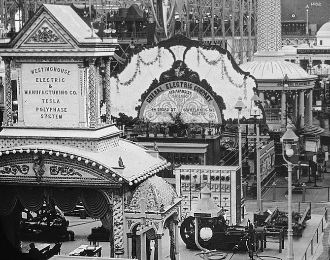 Columbian exposition 1893. Westinhouse electric & manufacturing Co. Tesla polyphase system