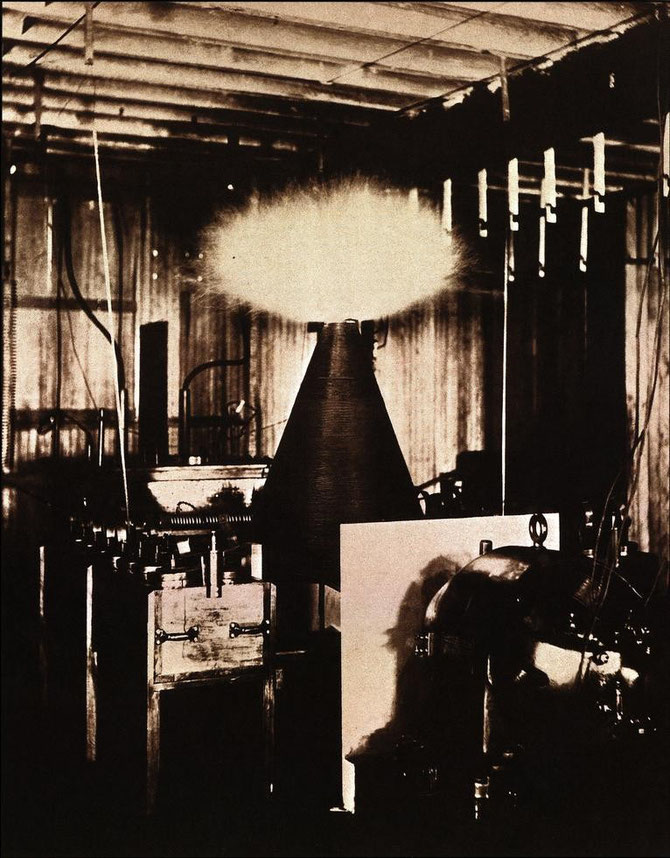 "Apparatus in action illustrating the first step in the evolution of the magnifying transmitter in the laboratory at 35 South Fifth Avenue.  (Article by T.C. Martin [""Tesla's Oscillator and Other Inventions""], Century Magazine, April 1895, Fig. 15, p. 932."