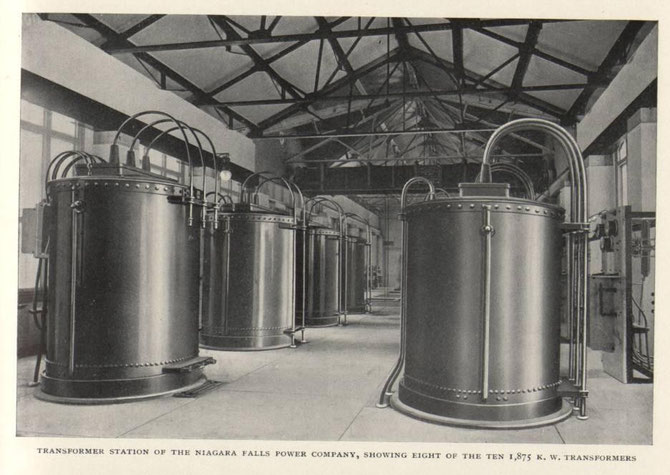 The eight of ten 1,875 kW transformers at the Adams Power Plant Transformer House, the first large-scale, alternating current electric generating plant in the world, built in 1895