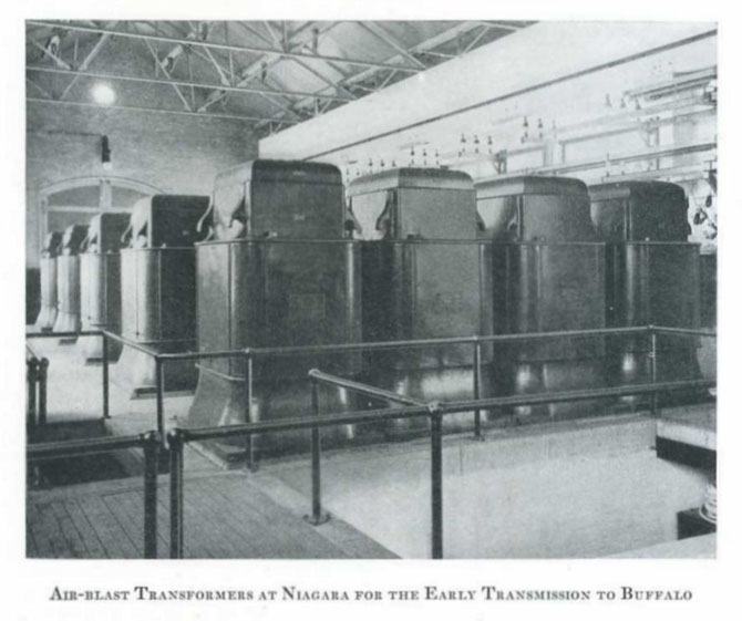 Static Transformers at Niagara End of Buffalo Transmissio Line. 200 Volts 2 Phase to 11,000 Volts 3 Phase