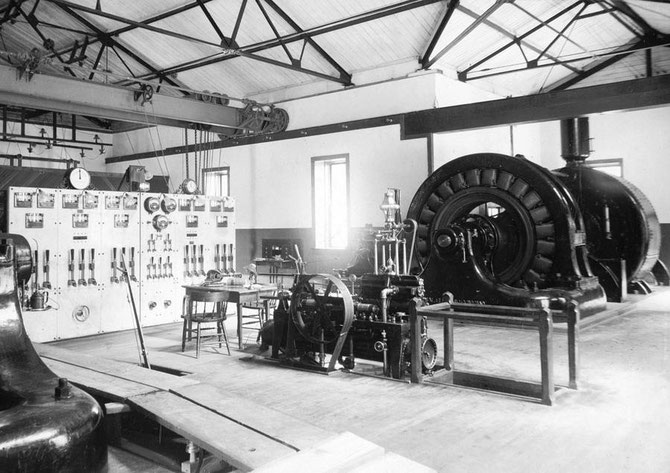 Interior view, 1895 Ames powerhouse