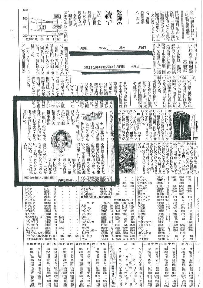 茨城新聞に取り上げられました(2013/1/9)