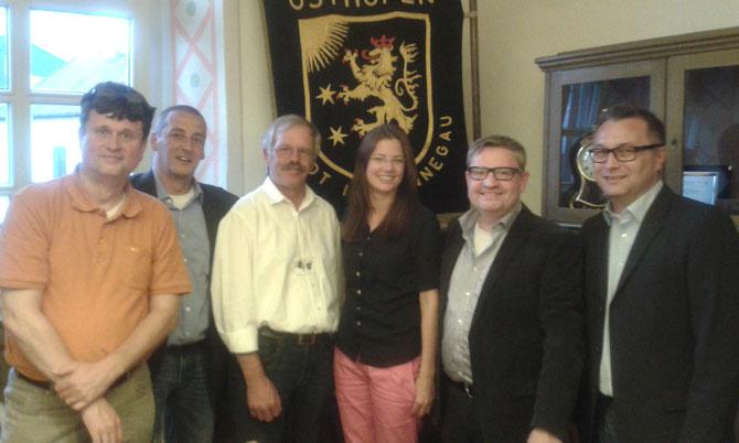 Bürgerverein Wonnegau 30.6.2014: Bernhard Furch, Heiko Scriba, Gerhard Hahn, Nina Macher, Bernd Schäfer, Volker Naumann Foto: Axel May