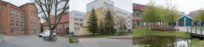 Unsere Schulen: Heinrich-Heine-Schule mit Grundschulteil und Regionalschulteil und das Gymnasium (von links nach rechts)