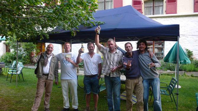 Von links, Remo und Christoph aus Bern (3. Rang) Geni und Tini (Sieger) Paolo aus Lausanne  und Bernhard aus Ferden (2.Rang)
