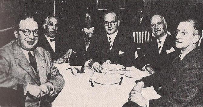 Pere Mas Perera, Pere Seras, Joan Llorens, Josep Escolá i el president del Consell Executiu de la Comunitat Catalana de Colòmbia, Manuel Serra Moret.