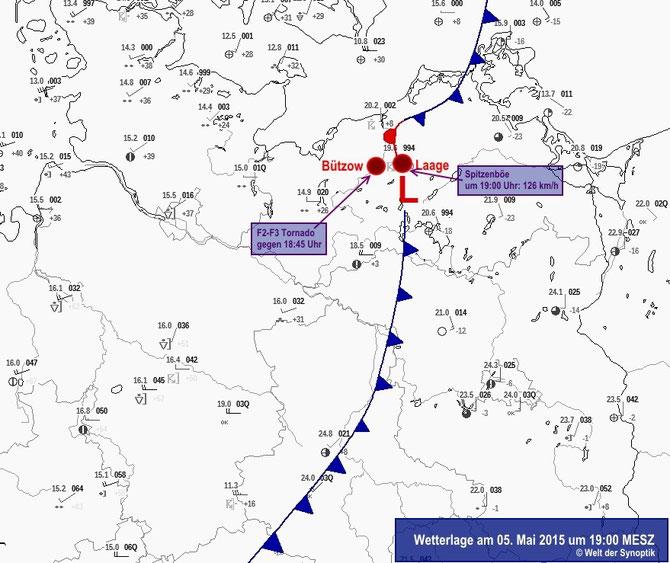 Abb. 1 | Diese Abbildung zeigt die Lage der Kaltfront am 05.05.2015 um 19:00 MESZ. Die schwersten Windereignisse wurden innerhalb eines sich an der Kaltfront gebildeten mesoskaligen Tiefdruckgebietes (L) beobachtet. | Bildquelle: Welt der Synoptik