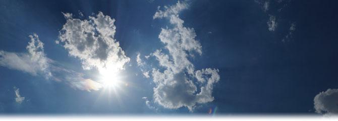 Flache Kumuluswolken in 39,5°C heißer kontinentaler Subtropikluft am 07.08.2015 in Offenbach. | Bild: Denny Karran