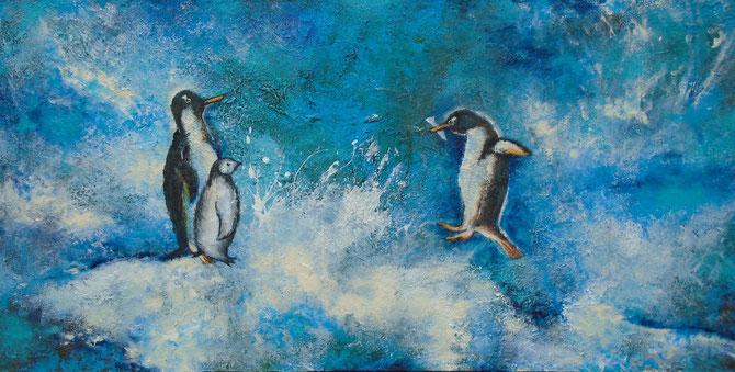 Pinguin - Family - Mischtechnik auf Leinwand - 70 x 120