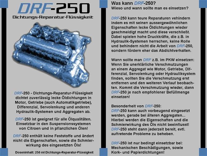 DRF-250 Dichtungs-REperatur-Flüssigkeit für alle Ölsysteme / Motor und Getreibe Leistungsdaten 1