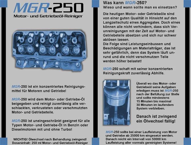 MGR-250 Reiniger des Ölsystems von Motor und Getreibe Leistungsdaten 1