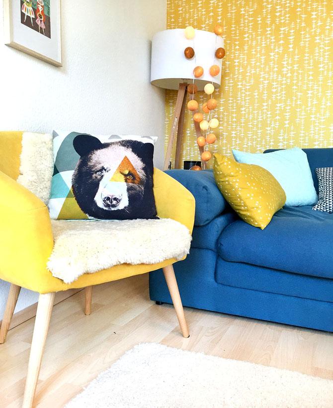 Lybstes näht Kissen in Senfgelb und Mint, Wohnzimmer dekorieren
