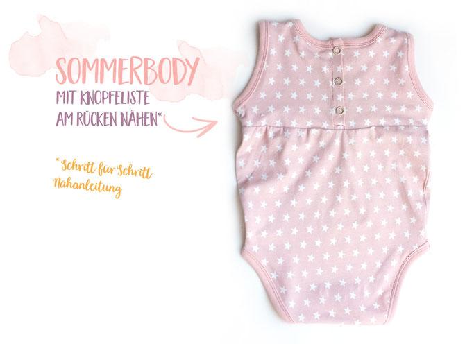 Lybstes Sommerbody Freebook fürs Baby! Gr. 56 - 74 umsonst - free pattern, Knopfleiste hinten nähen