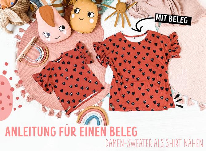 Lybstes Nähanleitung für ein Oversized Shirt mit Beleg und Rüschen-Ärmeln