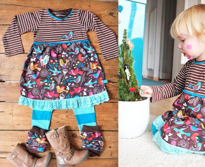 Lybstes: Weihnachtskleid für Kinder selbernähen FREEBEOOK, Tutorial: Shirtkleid, Kleid mit Spitze