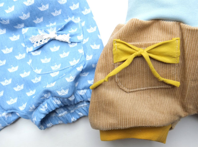 Lybstes. Nähanleitung: Schleifen-Tasche selber nähen, Schnittmuster und Tutorial zum Freebook kurze Pumphose