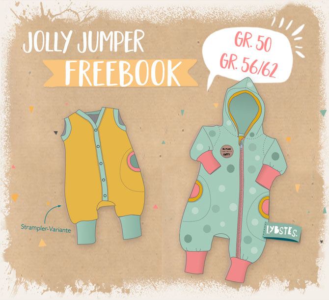 LYBSTES FREEBOOK Jolly Jumper in Gr. 50/56/62, als Strampler, Baby-Overall, Romper, Jumpsuit mit Kapuze