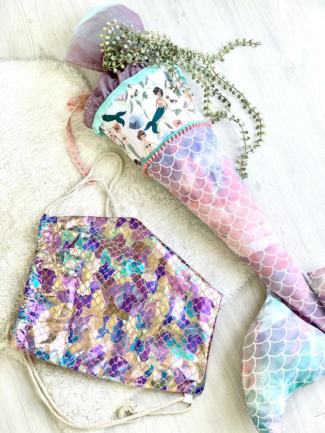 Lybstes: Meerjungfrauen Schultüte nähen, eine Nixen-Zuckertüte zur Einschulung!