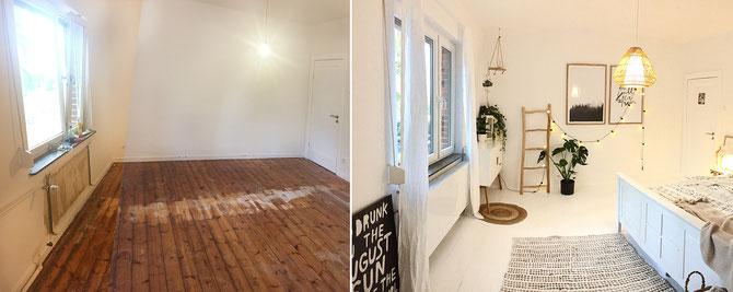 Lybstes Zuhause: Altbausanierung, Holzboden weiß lackieren