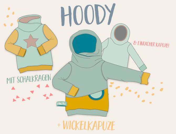 Lybstes Hoody selbst nähen, Hoodie mit Wickelkapuze/Kroody oder Stehkragen
