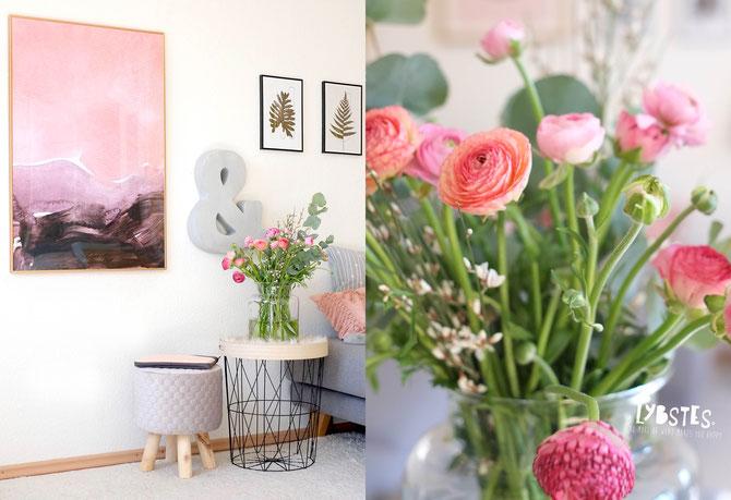 Lybstes Bilderwand Poster Wohnzimmer Einrichtung Frühlingsdeko in Rosa, Inneneinrichtung Wohnzimmer, Interiordesign mit Postern und Typografie