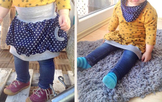 Lybstes. Ballonrock zum Wenden, Bubbleskirt Wenderock, blauer Jeansstoff mit Sternen + Senfgelb