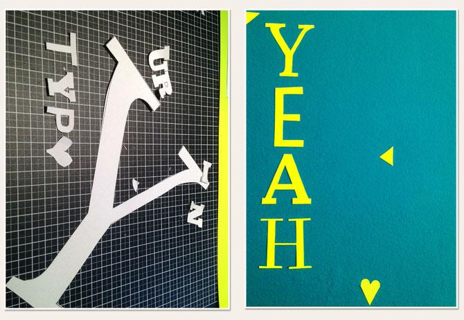 """Lybstes.de Typo: """"YEAH"""" aus Papppe gebastelt"""