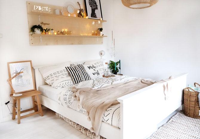 Interioerdesign - Lybstes Gästezimmer ganz in weiß: hyggeliges Cosyhome, Boholook, Naturmaterialien