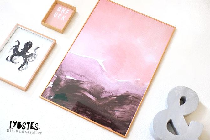 Lybstes Bilderwand Poster Wohnzimmer Einrichtung Frühlingsdeko in Rosa