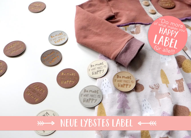 "Lybstes Label ""Do more of what makes you happy"" als Kunstleder-Etikett bestellen"