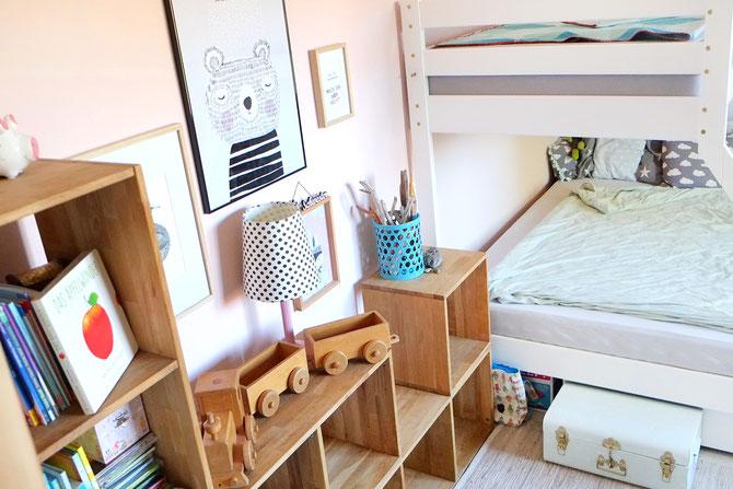 Lybstes. Haus: Inneneinrichtung Mädchenzimmer in Rosa und Mint mit Fototapete