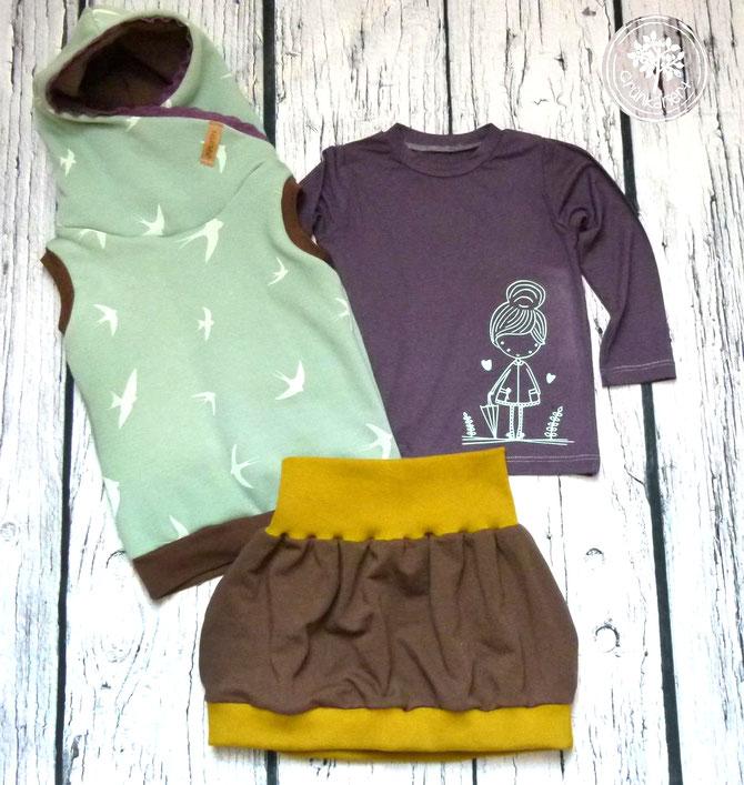 Lybstes Herbst-Set: Hoodie und Shirt für das perfekte Herbstoutfit für Kinder, Herbstmädchen von Paul & Clara