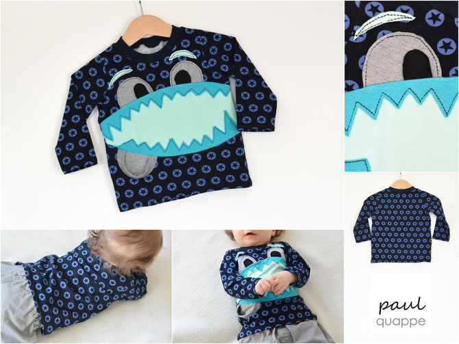Lybstes Basic-Shirt mit Monster und Tasche! Ein Schnittmuster für alle Jungs und Mädchen - Lybsteslook!