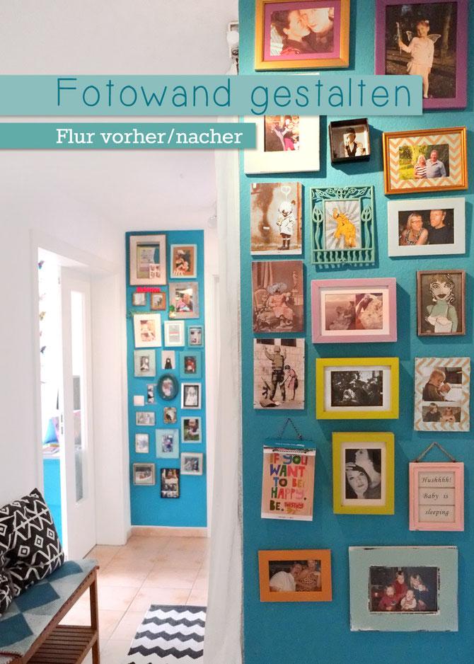 Lybstes.de: Fotowand gestalten, Flur vorher und nachher, Türkise Wandfarbe