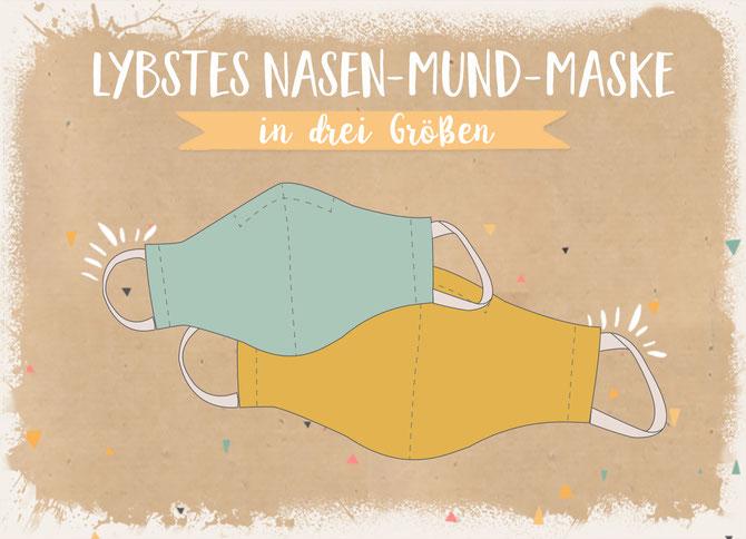 ein Freebook von Lybstes: Mund-Spuckschutz Mund-Nasen-Maske selber nähen, DIY Nähanleitung für Corona-Zeiten, Kindermaske nähen