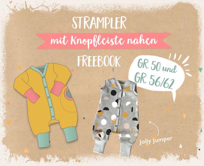 "Jolly Jumper Strampler und Jumpsuit, Lybstes Freebook, Tutorial ""faule Knopfleiste"""