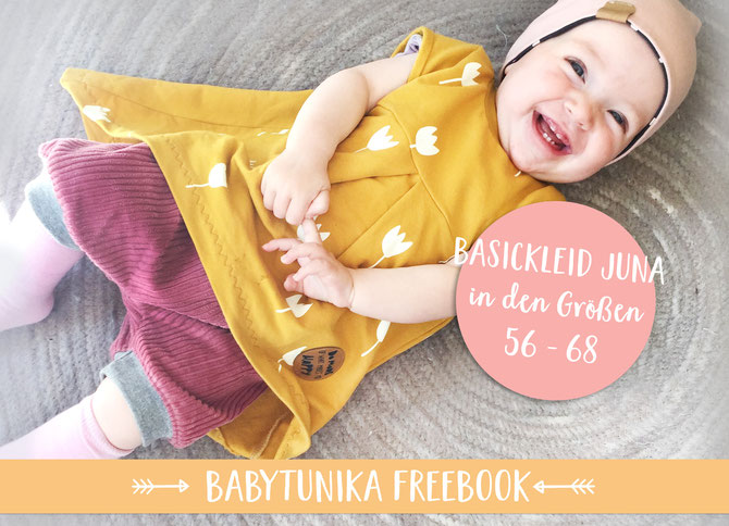 Lybstes Freebook Schnittmuster: Babytunika und Basickleid Juna in den Größen 56, 62 und 68 umsonst nähen.