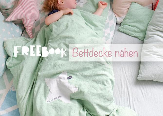Lybstes. Bettdecke nähen in Mint für Baby und Kids. FREEBOOK!