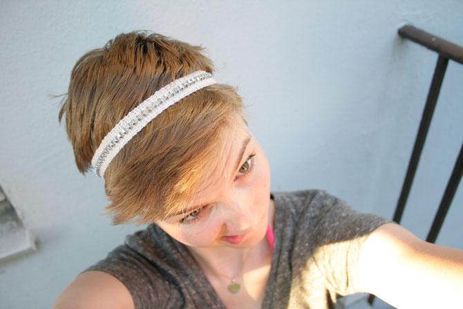 Haarband Schrauben Gummi weben