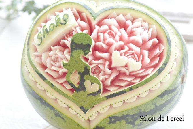 カービング スイカ 彫刻 誕生日 結婚式 メロン フルーツカービング 教室 大阪 薔薇 ソープカービング  プレゼント オーダー フラワーケーキ 時計 ウェルカムボード フルーツバスケット melon