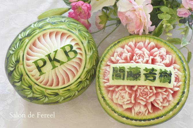 カービング スイカ 彫刻 誕生日 結婚式 メロン フルーツカービング 教室 大阪 薔薇 ソープカービング  プレゼント オーダー 石けん 野菜