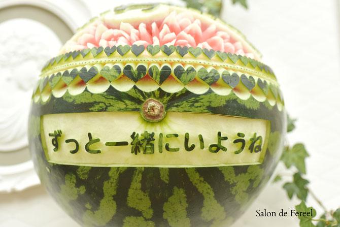 カービング スイカ 彫刻 誕生日 結婚式 メロン フルーツカービング 教室 大阪 薔薇 ソープカービング  プレゼント オーダー フラワーケーキ 時計 ウェルカムボード フルーツバスケット