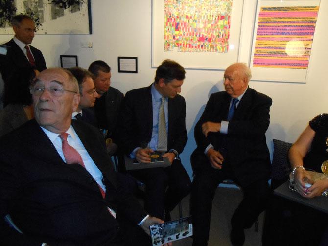 g. à dte.. LE CHARISMATIQUE PT. Jacques ROCCA SERRA, S.E. M. Luca NICULESCU, S.E M. Bogdan CORNEANU, S.E. M. Costin BORC et LE SENATEUR MAIRE DE MARSEILLE Jean-Claude GAUDIN.