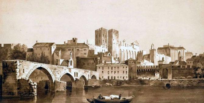 AVIGNON. (VAUCLUSE). VUE DU PALAIS DES PAPES par LOUIS-GABRIEL-EUGENE  ISABEY (1803-1886)
